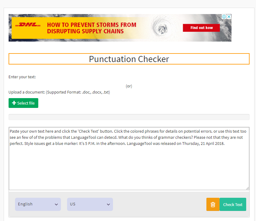 Best Free Punctuation Checker Page