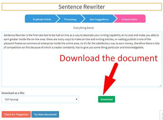Downloading reword document