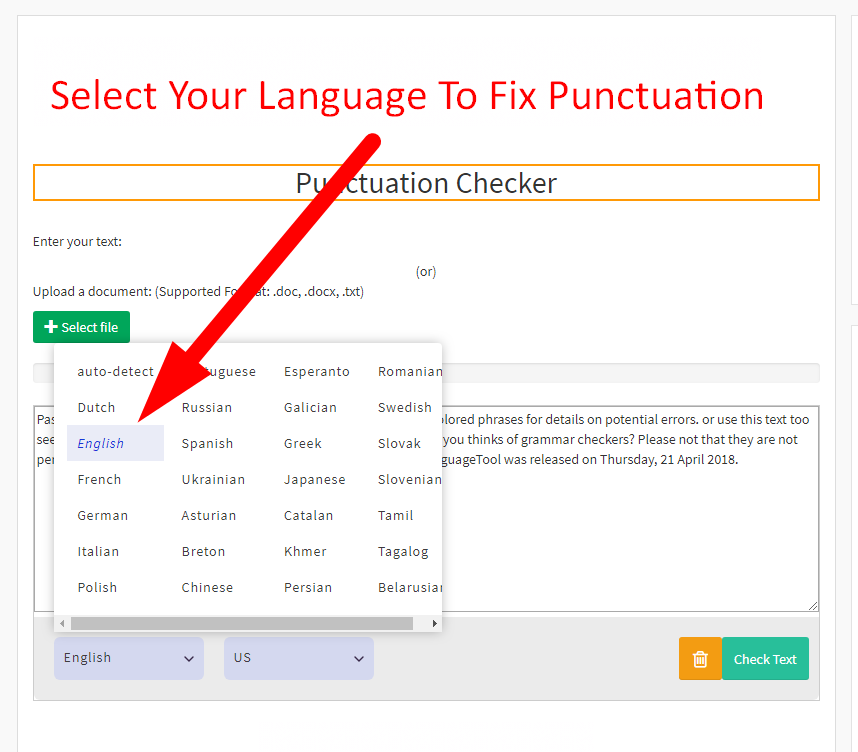 Google Punctuation checker using
