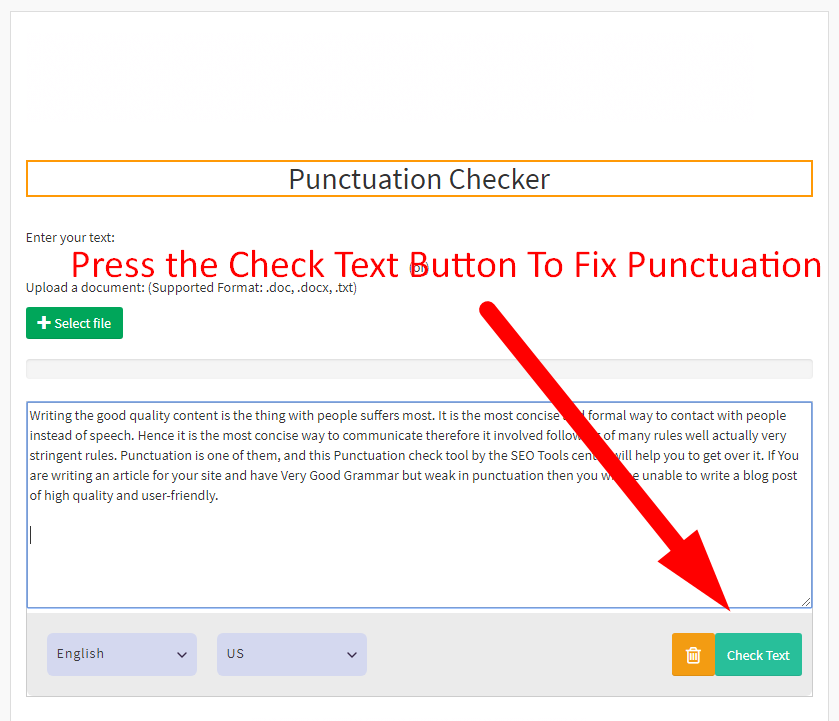 Punctuation Checker | Best Comma Checker | SEOToolsCentre