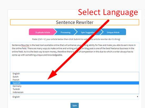 rewriting sentence online using sentence rewriter