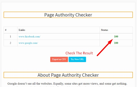 How to use bulk page authority checker step 3