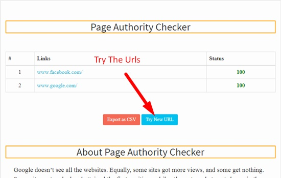 How to use bulk page authority checker step 4