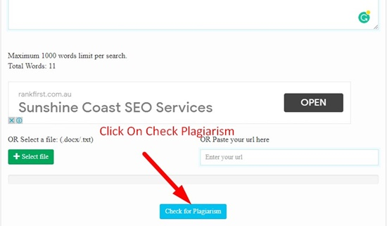 How to work plagiarism checker step 3