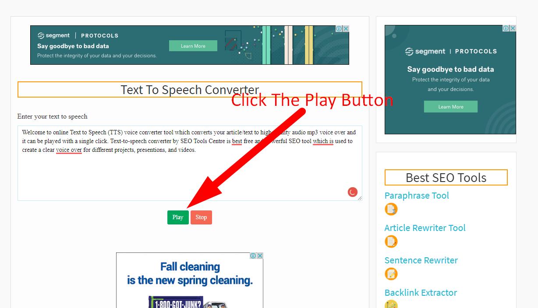 how to convert text to speech step 2