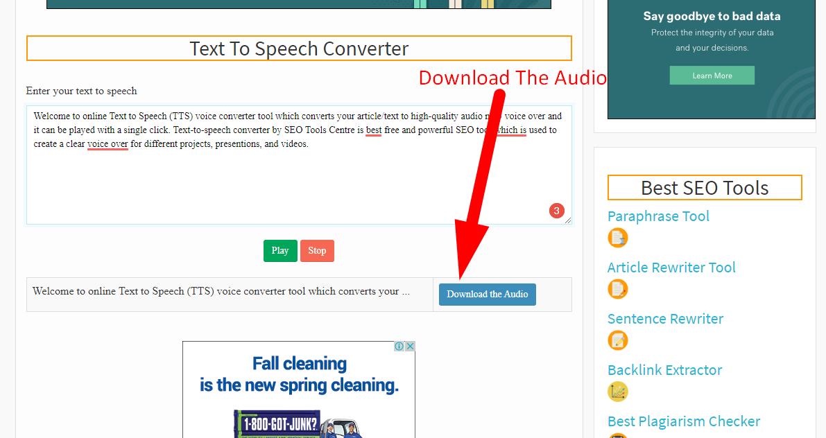 how to convert text to speech step 3