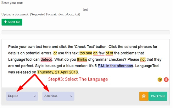 How to use online grammar checker step 2