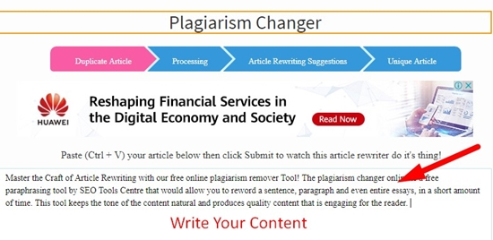 How To Use Plagiarism Changer Tool Step 1