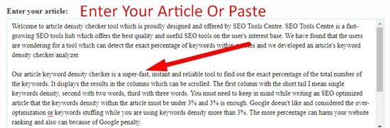 How use to Article Density Checker Tool step 1