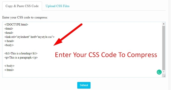 How use to CSS Minifier Tool step 1