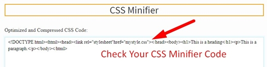How use to CSS Minifier Tool step 4