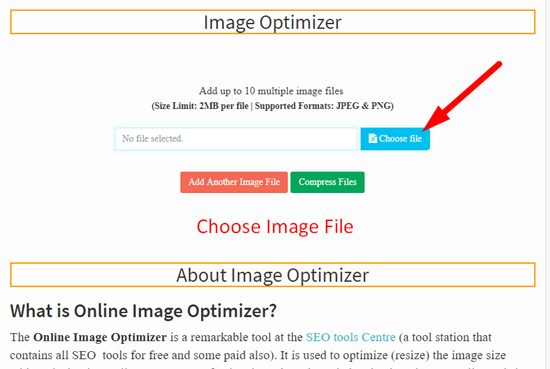 How use to Image Optimizer Tool step 1