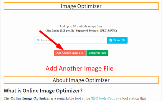 How use to Image Optimizer Tool step 2