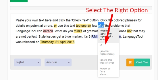 How to use online grammar checker step 4