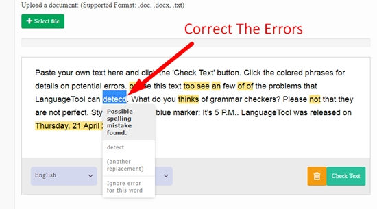 How to use online grammar checker step 5
