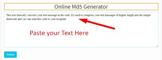 How to use Online md5 Genrator Tool step 1