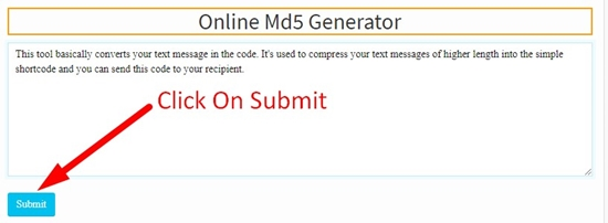How to use Online md5 Genrator Tool step 2