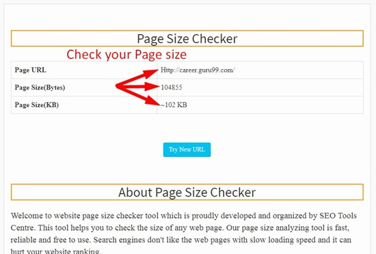 How to use page size checker step 3