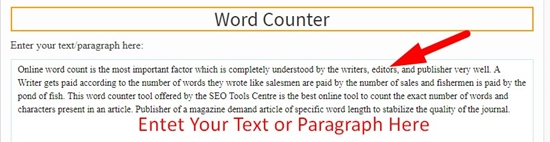 How to use Word Counter Tool tool step 1