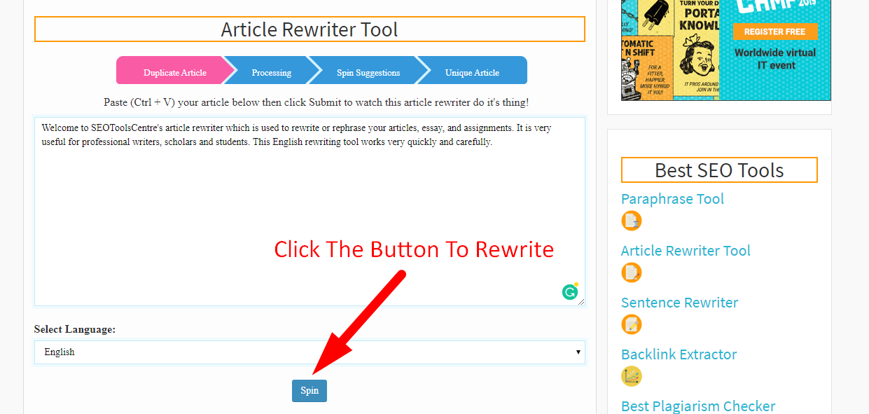 SEOToolsCentre's Article Rewriting Step 3