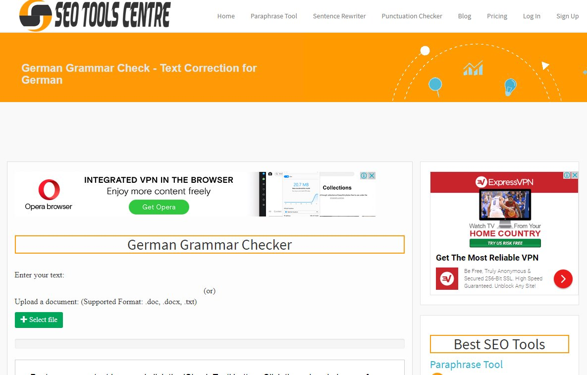 German Grammar Check Tool