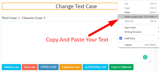 how to change text case online step 1