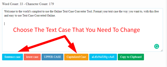 how to change text case online step 2