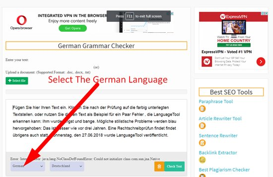 How to check german grammar step 2