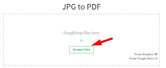 How to convert jpg to pdf file online step 2