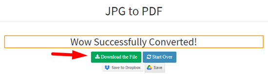 How to convert jpg to pdf file online step 5