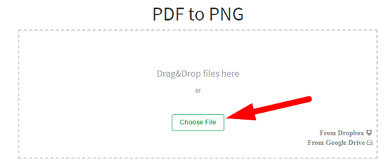 How to convert pdf to png file online step 2