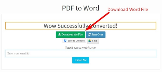 How to convert pdf to word online step 4