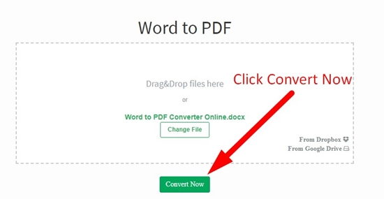How to convert word to pdf online step 2