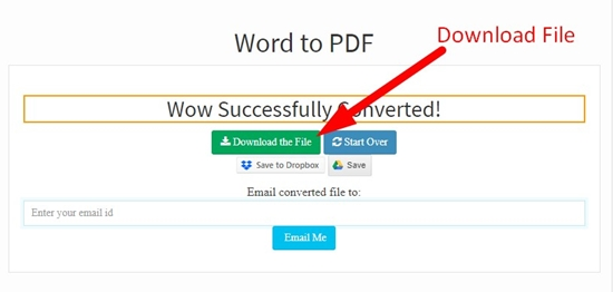 How to convert word to pdf online step 4