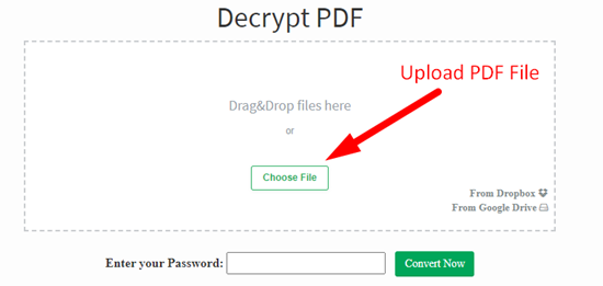 how to decrypt pdf file online step 1