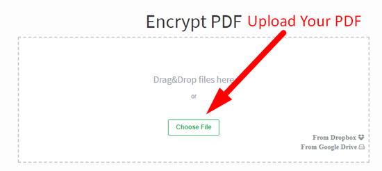 How to encrypt pdf file online step 1