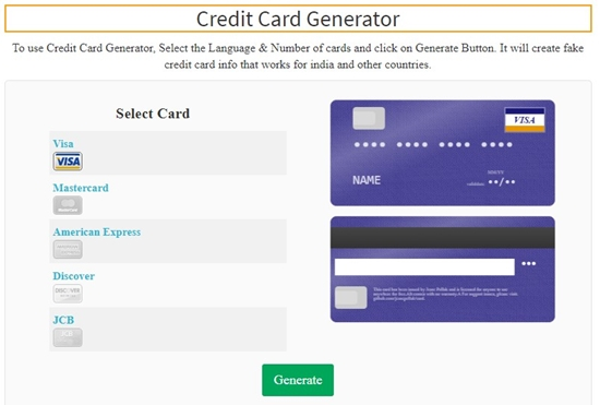 How to generate credit card online step 2