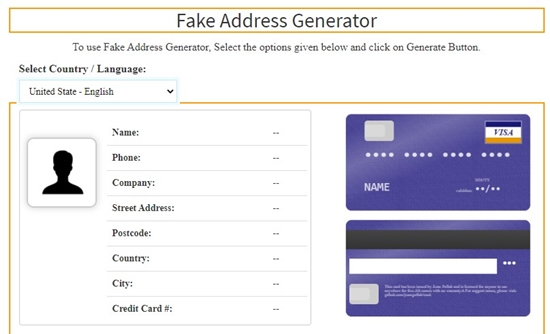 how to generate fake address online step 2