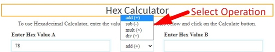 how to perform hexadecimal calculation online step 3