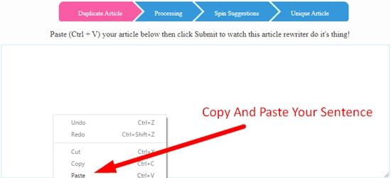 How to rewrite sentence online using sentence rewriter step 1
