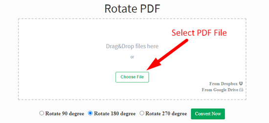how to rotate pdf file online step 1