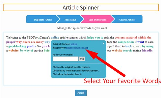 How to spin article step 4