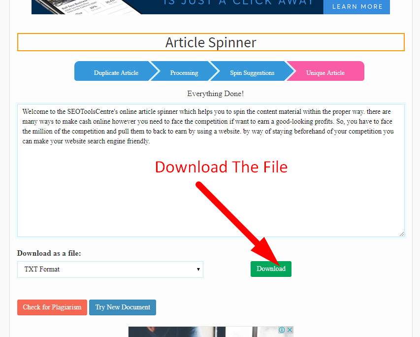 How to spin article step 6