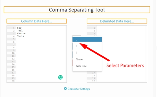 How to use comma separating tool step 2
