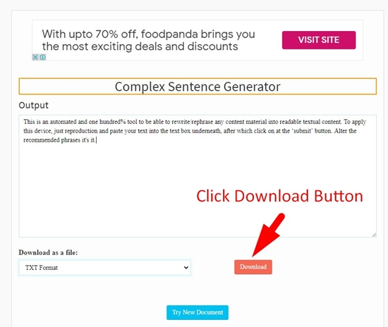 how to use complex sentence generator step 4
