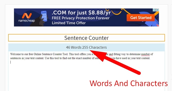how to use sentence counter step 2