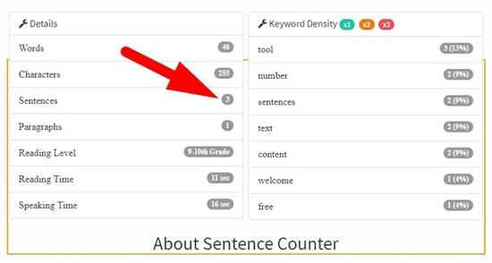 how to use sentence counter step 3